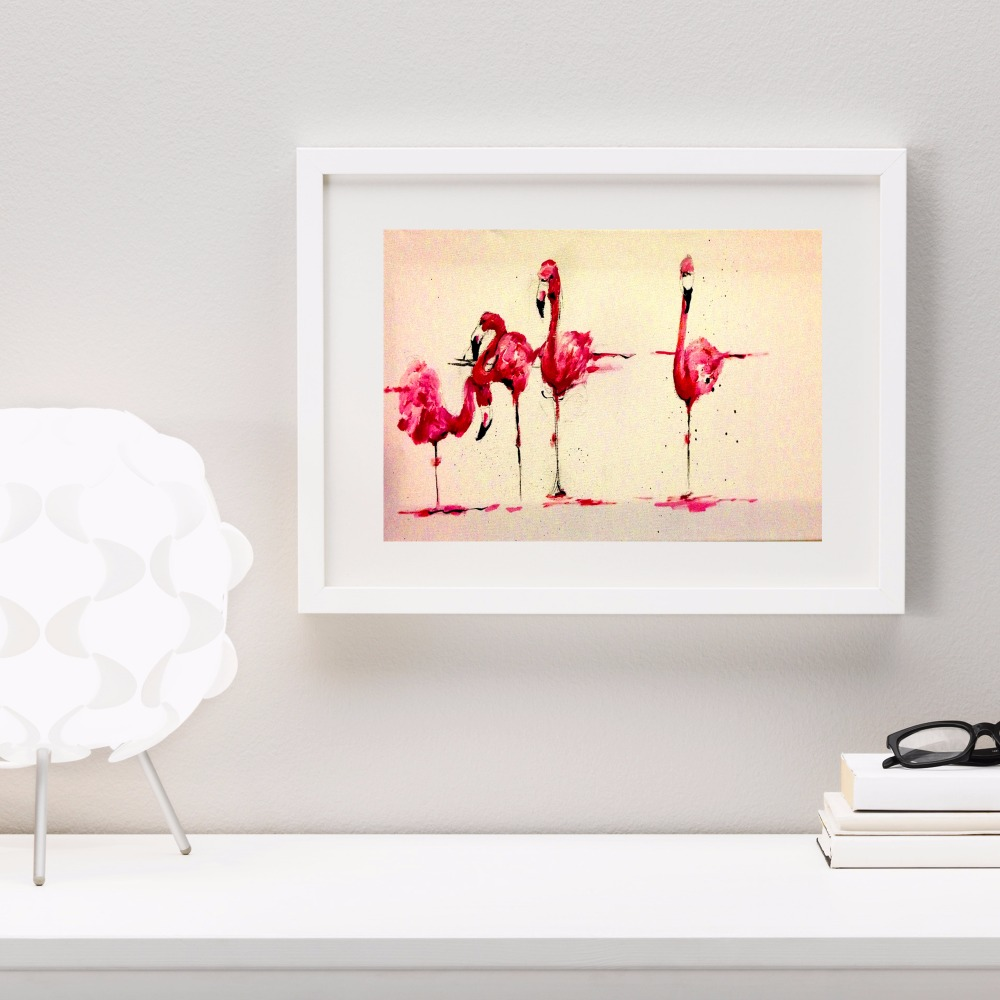 Watercolor Flamingo Artwork Canvas Art Print Painting Poster Wall Pictures For Room Home Decorative Bedroom Decor No Frame in Painting Calligraphy from Home Garden