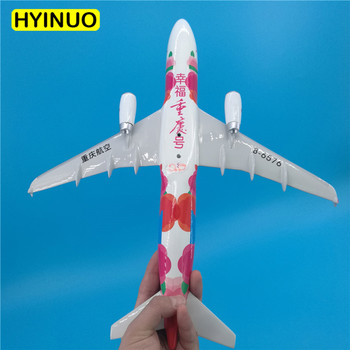 37CM 1:100 Airbus A320-200 model Happy Time Chongqing airlines W base alloy aircraft plane collectible display model collection