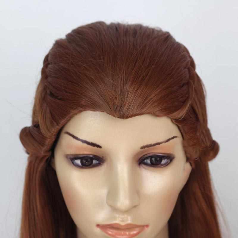 ההוביט Tauriel פאת קוספליי חום כהה ארוך 100cm סינטטי שיער ליל כל הקדושים קוספליי לשחק שיער למבוגרים