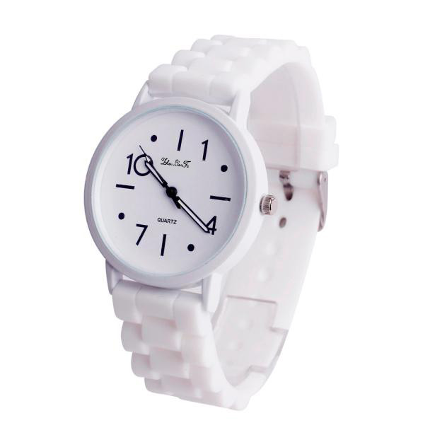 White Unisex Silicone Jelly Quartz Analog Sports Watch