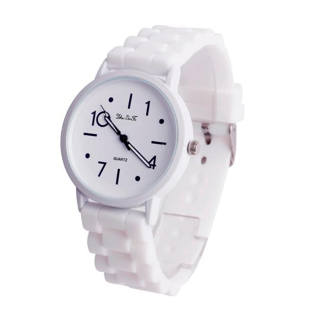 Silicone Watches Women Men Sports Jelly Gel Analog Quartz Wrist Watch Mens Unisex Rubber Hours Clock White Relogio Reloj W50