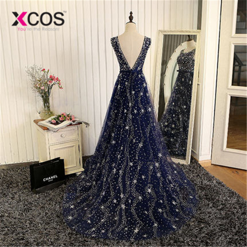XCOS élégant Bling Bling argent perles prêt à expédier Stock robe longue bleu marine robe de bal longues robes de soirée 2018 nouveauté - 2