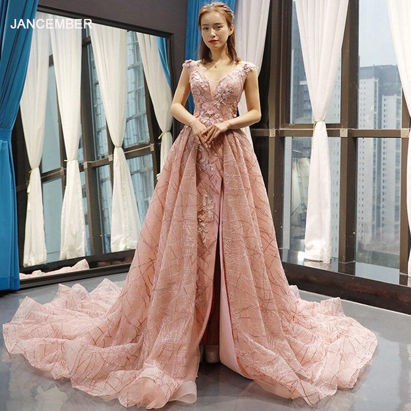 0b0d365d4 J66719 jancember Rosa vestidos de noche para las mujeres de encaje de  vuelta de cuello en V sin ...