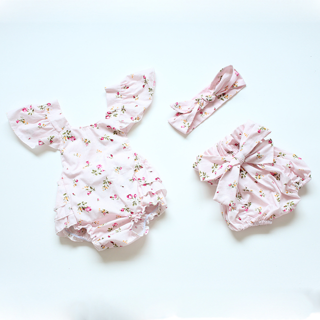 b1245567ca0c 2016 pink floral infant baby rompers newborn baby girls outfits cute ...