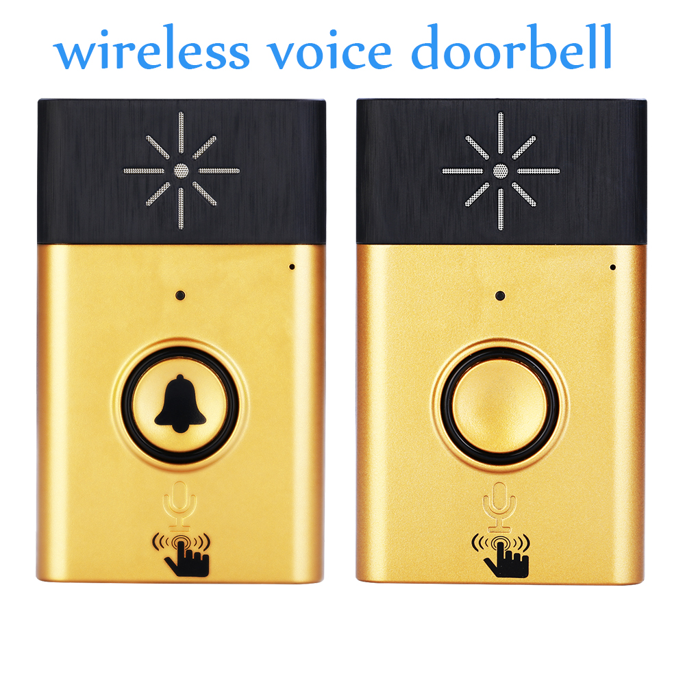 (1 Kit) Gold Color H6 Wireless Voice Intercom Doorbell 1 to 1 Visitor Calling system for House Audio Door phone in Door Bell wireless service call bell system popular in restaurant ce passed 433 92mhz full equipment watch pager 1 watch 7 call button