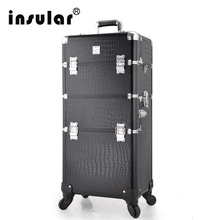 New Arrival Free Shipping Professional Rolling Makeup Case 2 in1 Multifunctional Trolley Cosmetic Case With 360 Degree Wheel