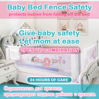 2PCS Baby Bed Fence for bedside&bedend child Barrier for toddler Guardrail Safe Kids playpen for beds Crib Rail Security Fence