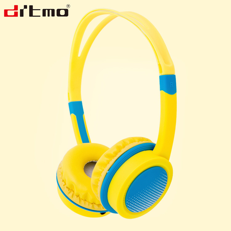 DRTMO Lightweight Children Headphone With Microphone Adjustable Headband Colorful Kids Stereo Headset For Music Games