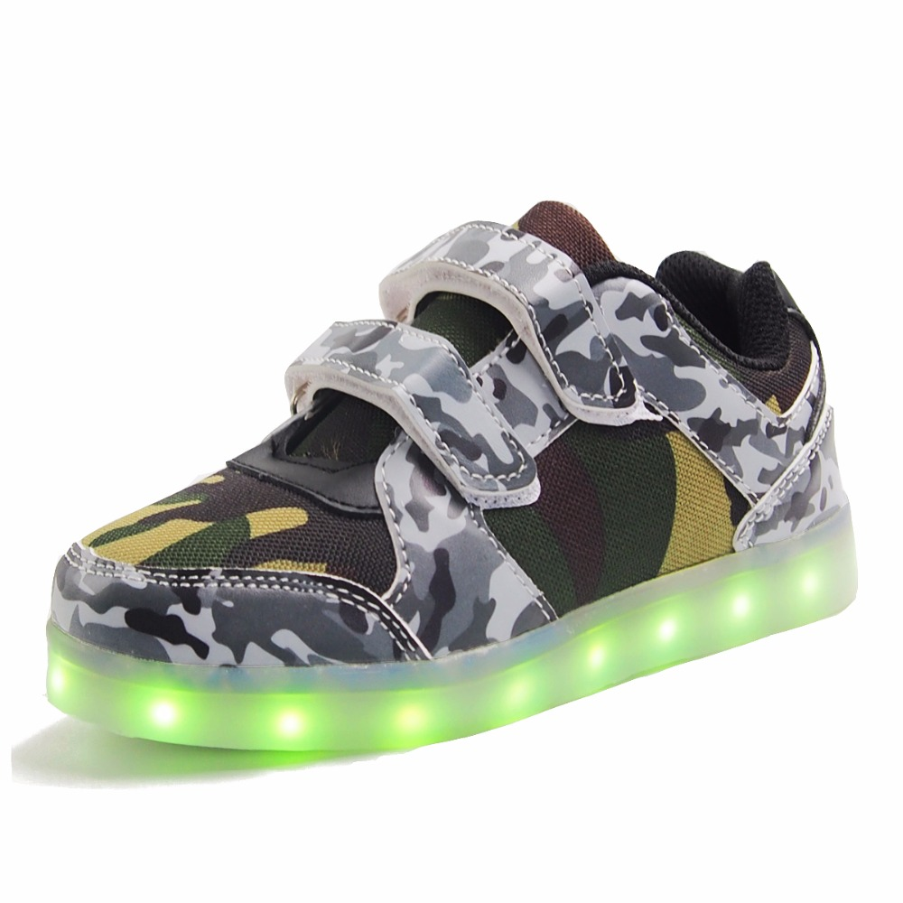 Eur25-37 // USB Basket Led Children Lighting Shoes With Light Up for Girls Luminous Sneakers Glowing Shoe enfant Boy Kids 1167