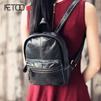 AETOO Layer Cowhide Mini Backpack Leather Backbag Women Hand Made Vintage Genuine Leather Bag Anti Theft