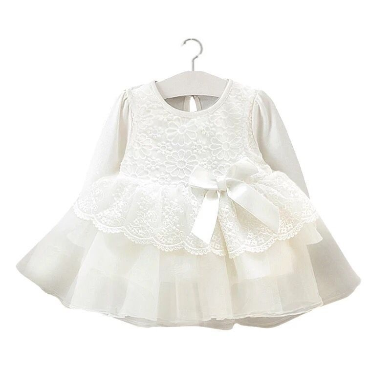 baby girl clothes full moon spring and autumn white lace chiffon princess dress long sleeve 0-12 months cotton baby Jurk Zomer
