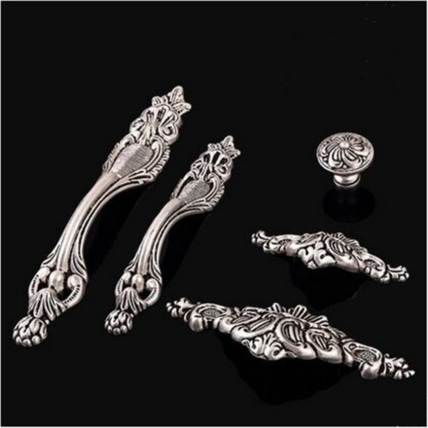 128mm European retro style top quality antique silver wine cabinet kitchen cabinet door handles vintage old silver drawer knobs css clear crystal glass cabinet drawer door knobs handles 30mm