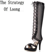 High Heels Women Summer Boots 2014 Knee High Gladiator Heels Cutout Open Toe Knee High Boots