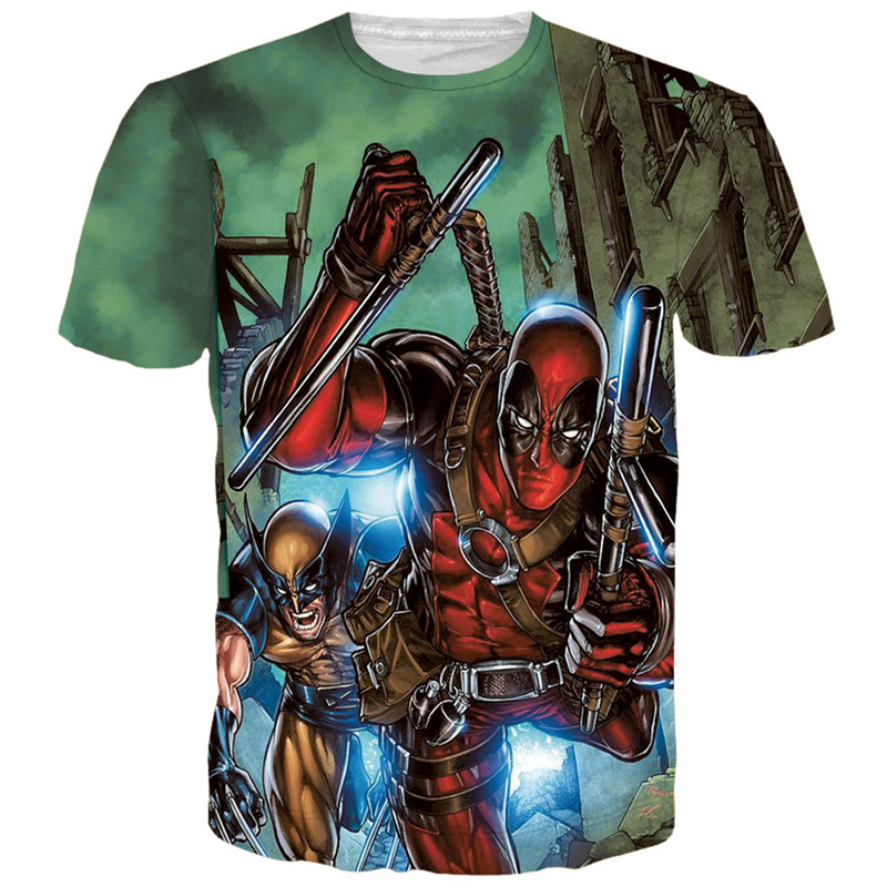 2017 New Badass Deadpool T Shirt Men Cartoon Characters 3D T-Shirt Men Women Brand Clothing Funny Casual Tee Shirts Tops