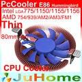 Ультратонкий 28 мм высота для 1U 2U HTPC, 8 см вентилятор, охлаждение для Intel LGA775 115x, для AMD все, кулер для процессора, PcCooler E86 - фото
