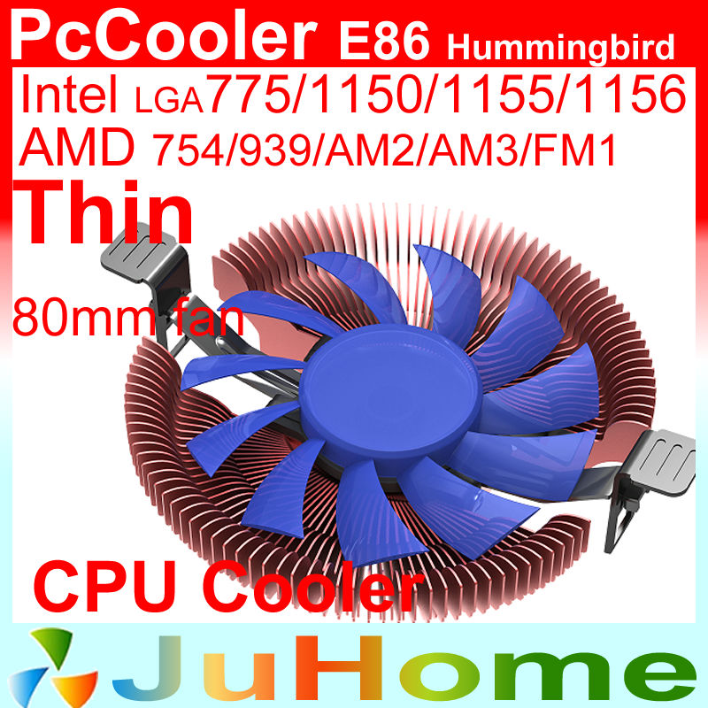 Ultra-thin 28mm height for 1U 2U HTPC, 8cm fan, cooling for Intel LGA775 115x, for AMD all, CPU cooler, PcCooler E86(China)