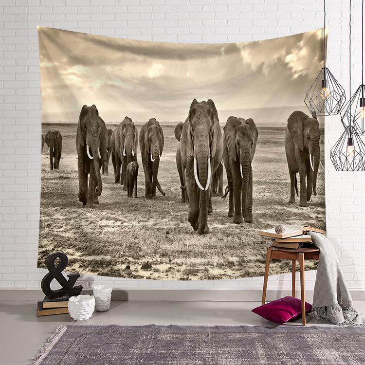 Ins Elephant Series Home Hanging Tapestry Decorative Printed Wall Hanging Tree Natural Scenery Tapestry Living Room Decor in Tapestry from Home Garden