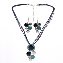 Fashion Brand Jewelry Sets Blue Rope Chain Round Beads Pendant Necklace Drop Earring High Quality Free Shipping Wedding Jewelry