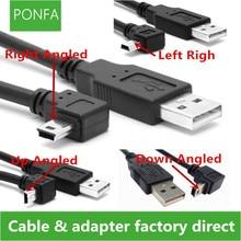 Кабель для передачи данных с USB 2,0 штекер на Mini USB B Тип 5pin 90 градусов вверх и вниз и левый и правый угол Мужской кабель для передачи данных 0,25 м/0,5 м/1,8 м/5 м