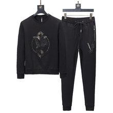 6525ab1f65ef44 2018 Preto de Algodão fatos de Treino Hoodies Sportswear Conjunto Roupas  Suor Ternos Homens Completa Masculino Moletons Casacos .