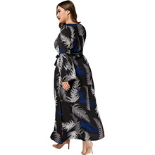 Casual Leaves Print Long Sleeve Beach Maxi Dress Women Clothing Long Sleeve Chiffon Black Boho Dress Plus Size 3XL-7XL