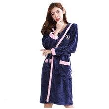Bath Robe Women Winter Warm Coral Fleece Women s Bathrobe Nightgown Kimono  Floral Dressing Gown Sleepwear Female fdf2b9994