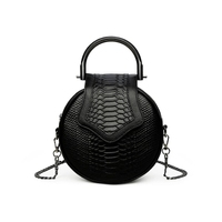 2018 novelty women small snake patter round chain bag femall mini cowhide tote handbag unique designer black one shoulder bag