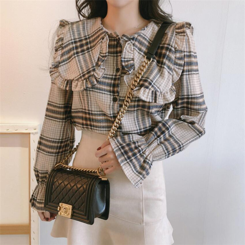 Fashion Harajuku Girls Blouse Long Flare Sleeve Korea Sweet Plaid  Shirt Loose Casual Tops Peter Pan Neck Vintage Female Shirts