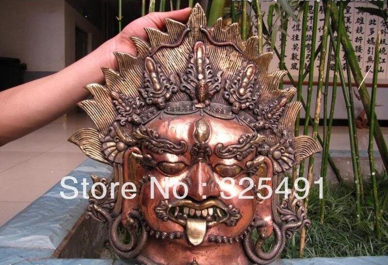 15 Tibet Buddismo Pure Bronzo Vajrabhairava Mahakala Buddha Head maschera z15 Tibet Buddismo Pure Bronzo Vajrabhairava Mahakala Buddha Head maschera z