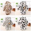 Winter Baby Girls Fleece Long Sleeve Animal Cow Hooded Kids Jumpsuit Rompers roupas de bebe