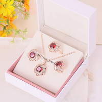 S2135545 New Red Zircon Crystal Set Ring Earring Necklace Zinc Alloy 18K Rose Gold Platinum Plated