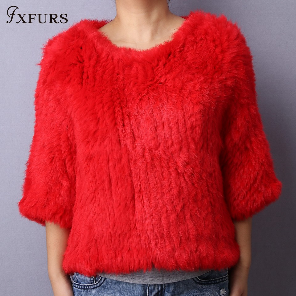 FXFURS 2019 Knitted Rabbit Fur Poncho Women Fashion Fur Sweater 100 Real Fur Jackets Girl s