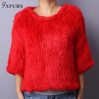 FXFURS 2017 Knitted Rabbit Fur Poncho Women Fashion Fur Sweater 100% Real Fur Jackets Girl's Pullover
