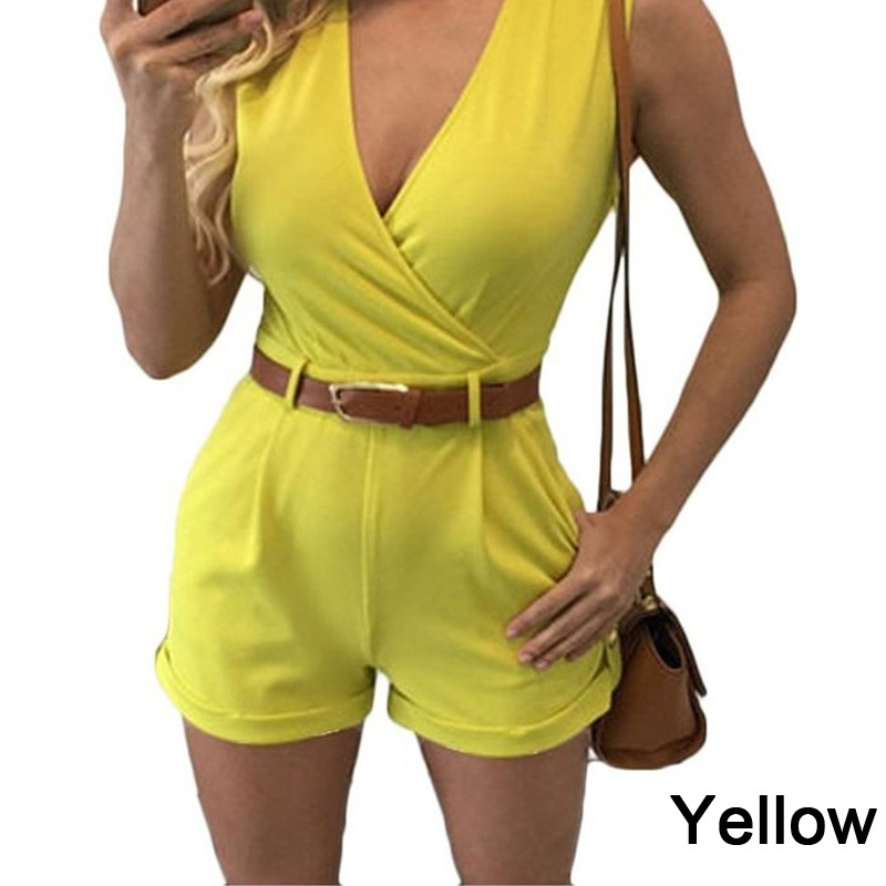 2018 Summer Casual Playsuit Sexy Sleeveless Short Jumpsuit Solid Overalls Romper With Be ...