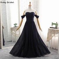 Ruby Bridal Luxury Long A Line Evening Dresses Sexy Navy Blue Chiffon Pleats Vestido De Festa