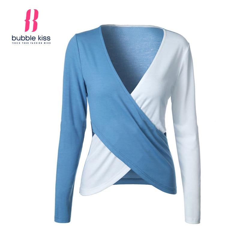 Long Sleeve T Shirt Women Patchwork Sexy V Neck Color Block Asymmetrical Hem Side Cut Out Design Casual Top Bubblekiss