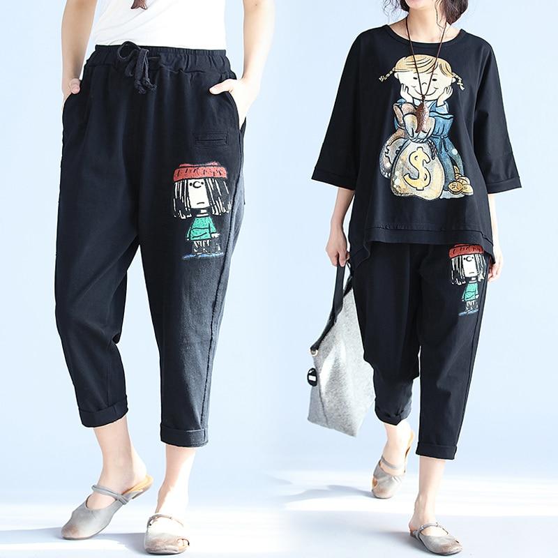 BIG SIZE 4XL Summer Women Fashion Cute Cartoon Print Capris Pants Women Female Ladies Plus Large Cotton Casual Loose Trouser