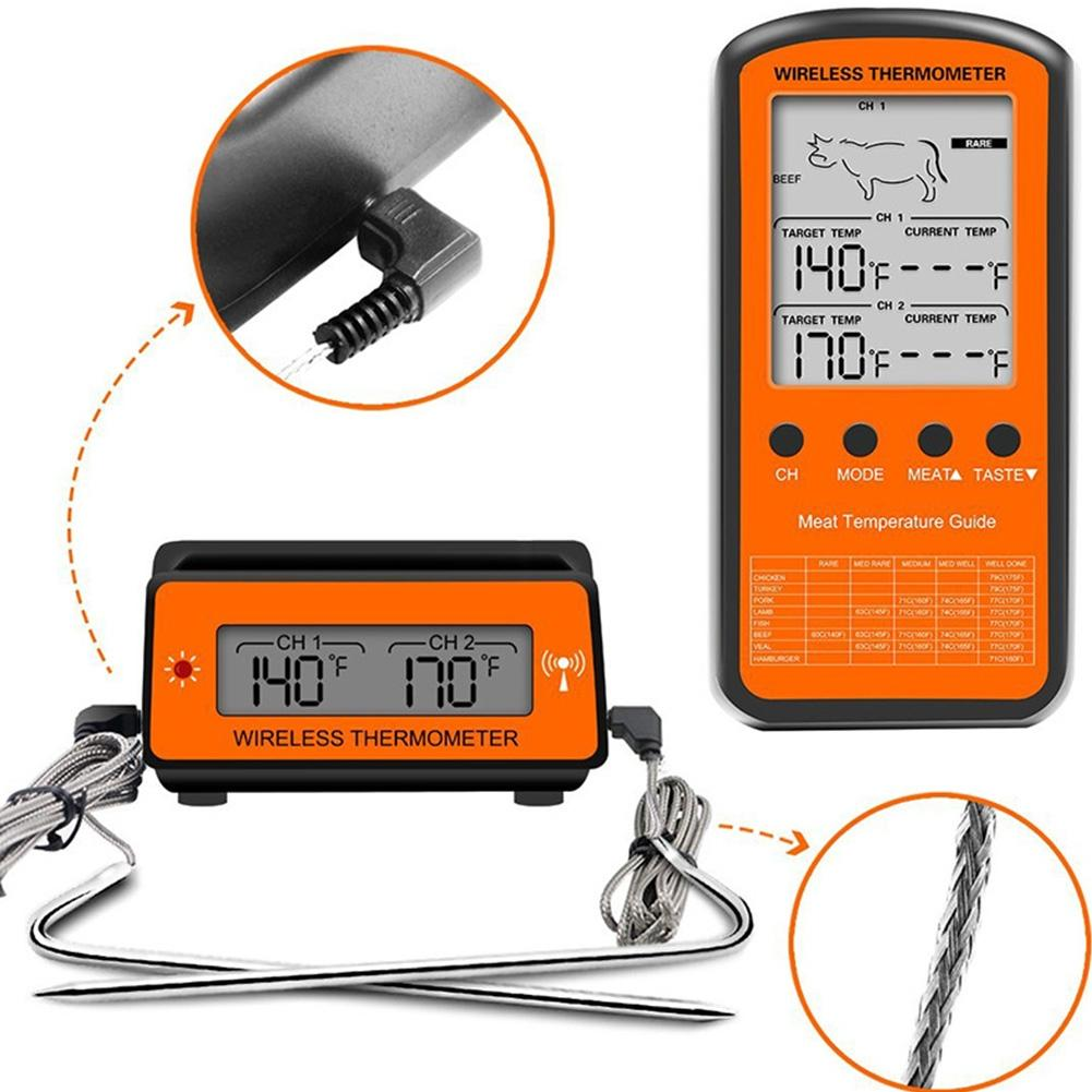 BBQ Wireless Remote Dual Probe Digital Cooking Meat Food Oven Thermometer For Grilling Smoker