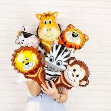 6 adet hayvan kafa folyo balonlar Safari Zoo el şişme hava balon bebek duş doğum günü partisi süslemeleri çocuklar hediyeler