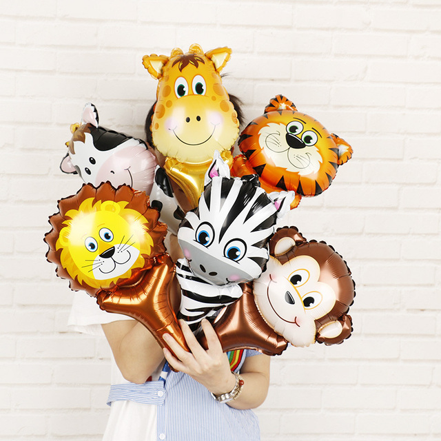 6pcs Animal Head Foil Balloons Safari Zoo Handheld Inflatable Air Ballon Baby Shower Happy Birthday Party Decorations Kids Gifts