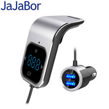 JaJaBor Bluetooth לרכב דיבורית אלחוטי Bluetooth FM משדר Dual USB תמיכת TF כרטיס משחק גדול LCD מסך תצוגה