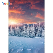 Yeele Winter Snow Sunset Scenery Photography Backdrops Pine Trees Wedding Professional Photographic Backgrounds For Photo Studio kate winter backdrops photography ice snow tree scenery photo shoot white forest world backdrops for photo studio