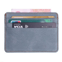 10colors Slim Pu Leather Business Front Pocket Credit Card Holder WomenThin ID Credit Card Money Holder Minimalist Wallet(China)
