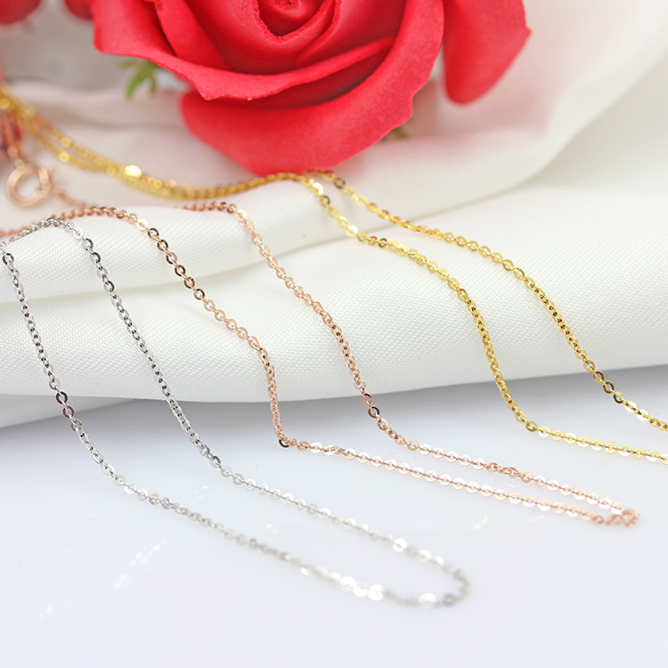 Pure 18K Au750 Rose Gold Chain O Necklace with Spring Clasps fit Women Girl 16inch Fashion Link Hot Girl 0.9mmW  About 1gPure 18K Au750 Rose Gold Chain O Necklace with Spring Clasps fit Women Girl 16inch Fashion Link Hot Girl 0.9mmW  About 1g