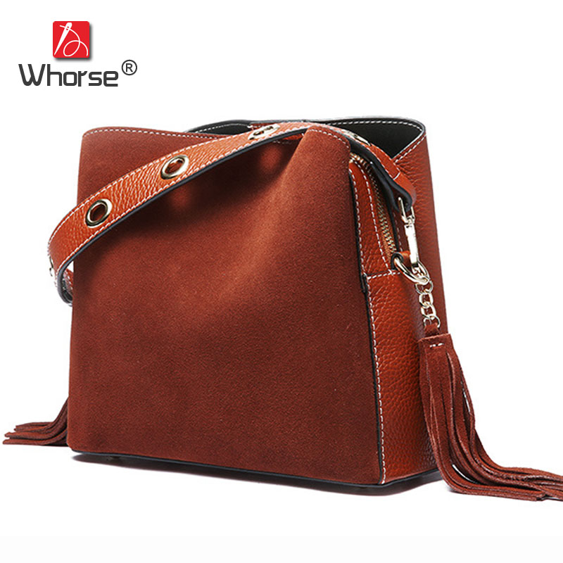 Vintage Casual Tassel Genuine Leather Women Bucket Bag Scrub Cowhide Ladies Tote Shoulder Messenger Bags High quality W09520 women vintage bucket bag ladies casual pu leather handbags tote high quality messenger bags brands designer shoulder tassel bag
