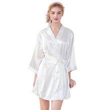 26c0f3bb5 2019 Moda verão das mulheres de manga longa Sólido Branco de Cetim de Seda  Robe Meninas Noiva Robe