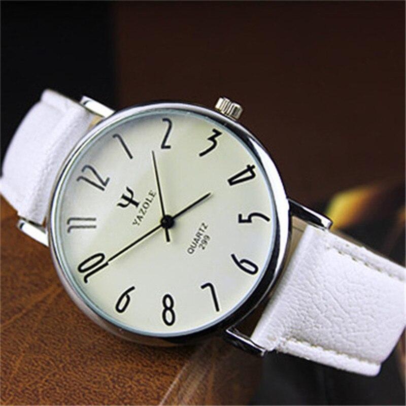YAZOLE New Brand Lovers Watch Women Men Leather Clear Digital Scale Round Dial Clock Waterproof Blue Glass Female Quartz Watches