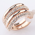 Gold plated Austrian crystal double rings set for women bague wholesale jewellery mix lots anel feminino