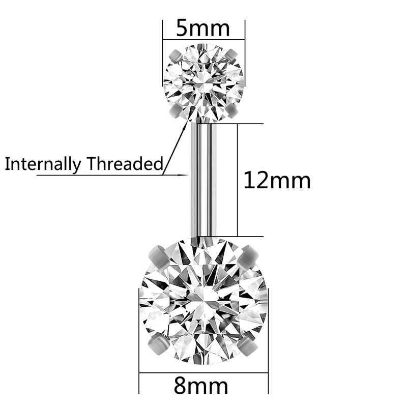 G23titan נירוסטה בטן טבעות 14G שני עגול קריסטל ראשי 12mm ארוך בטן בוטון פירסינג ברבל גוף תכשיטים