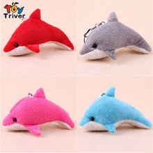 Hot sale 100pcs of colorful cartoon dolphin doll mobile phone key chain plush toys wholesale gift free shipping